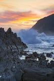 Puesta del sol en las tormentas río, Tsitsikamma, Suráfrica Imagen de archivo libre de regalías