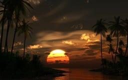 Puesta del sol en las zonas tropicales Foto de archivo