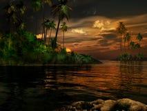 Puesta del sol en las zonas tropicales Fotografía de archivo libre de regalías