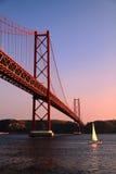 Puesta del sol en Lisboa Foto de archivo