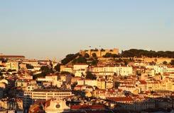 Puesta del sol en Lisboa, Portugal Fotos de archivo libres de regalías