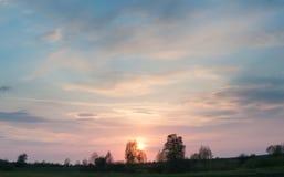 Puesta del sol en los arbolados de Volyn Fotografía de archivo