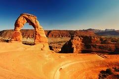 Puesta del sol en los arcos delicados, Utah Imágenes de archivo libres de regalías