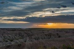 Puesta del sol en los Badlands Fotos de archivo libres de regalías