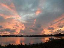 Puesta del sol en los claves Foto de archivo libre de regalías