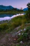 Puesta del sol en los lagos bermellones Fotografía de archivo