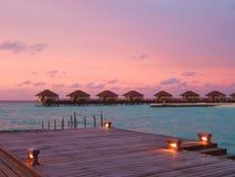 Puesta del sol en los Maldives Imágenes de archivo libres de regalías