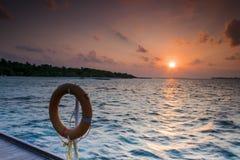 Puesta del sol en los Maldives Foto de archivo libre de regalías