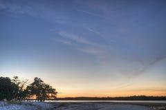 Puesta del sol en los marismas Imágenes de archivo libres de regalías
