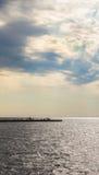 Puesta del sol en los muelles de Trieste, Italia fotos de archivo libres de regalías