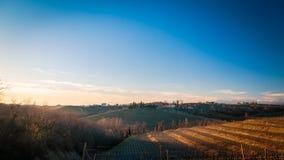Puesta del sol en los viñedos de Rosazzo Imagenes de archivo