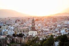 Puesta del sol en Málaga España foto de archivo libre de regalías