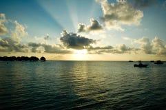 Puesta del sol en Maldives Fotos de archivo libres de regalías