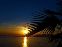 Puesta del sol en manarola Foto de archivo