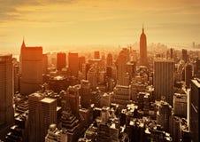 Puesta del sol en Manhattan, Nueva York Fotografía de archivo