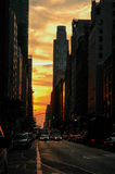 Puesta del sol en Manhattan, NYC Fotos de archivo