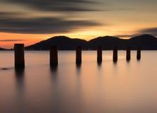 Puesta del sol en Marina Island, Lumut, Malasia Fotografía de archivo libre de regalías