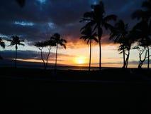 Puesta del sol en Maui Foto de archivo libre de regalías