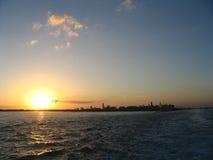 Puesta del sol en Miami Foto de archivo libre de regalías