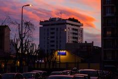Puesta del sol en Milán Imagen de archivo
