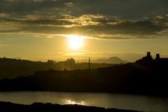 Puesta del sol en mina de carbón Foto de archivo libre de regalías