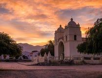 Puesta del sol en Molinos, la Argentina Fotos de archivo