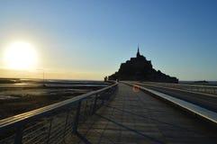 Puesta del sol en Mont-Santo-Miguel en Francia Fotos de archivo libres de regalías