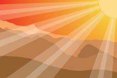 Puesta del sol en montaña. Imagen de archivo libre de regalías
