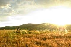 Puesta del sol en montañas Imágenes de archivo libres de regalías