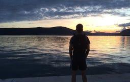 Puesta del sol en Montenegro Imagen de archivo libre de regalías