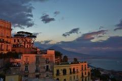 Puesta del sol en Nápoles Imágenes de archivo libres de regalías