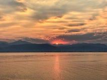 Puesta del sol en Nafplio Fotografía de archivo libre de regalías