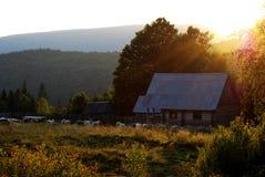 Puesta del sol en naturaleza Fotos de archivo libres de regalías