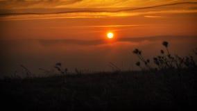 Puesta del sol en naturaleza Imagenes de archivo