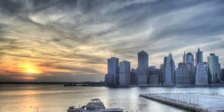 Puesta del sol en New York City Fotografía de archivo libre de regalías
