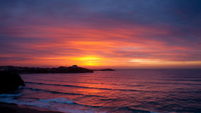 Puesta del sol en Newquay Fotos de archivo libres de regalías