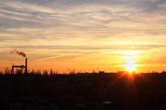 Puesta del sol en Nikolaev Imagen de archivo
