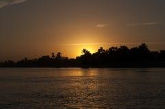 Puesta del sol en Nile River Imagen de archivo libre de regalías
