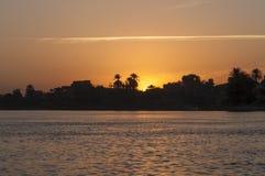 Puesta del sol en Nile River Foto de archivo libre de regalías