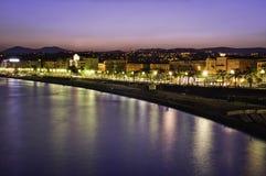 Puesta del sol en Niza Imagen de archivo libre de regalías