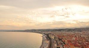 Puesta del sol en Niza, Francia Imágenes de archivo libres de regalías