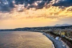 Puesta del sol en Niza, Francia imagen de archivo libre de regalías