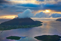 Puesta del sol en Noruega Imágenes de archivo libres de regalías