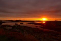 Puesta del sol en Noruega Imagen de archivo
