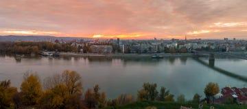 Puesta del sol en Novi Sad Fotografía de archivo libre de regalías