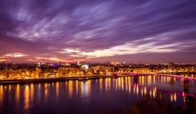 Puesta del sol en Novi Sad Fotos de archivo libres de regalías