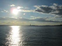 Puesta del sol en Nueva York Imagen de archivo