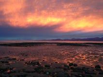 Puesta del sol en Nueva Zelandia Foto de archivo