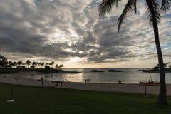 Puesta del sol en Oahu, Hawaii Foto de archivo