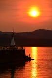 Puesta del sol en Ogden Point Foto de archivo libre de regalías